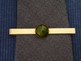 Swank USA Gold Plated Tie pin with Green Bakelite Decor